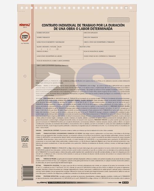 Forma Minerva 1011 Contrato De Trabajo De Duración Por Obra